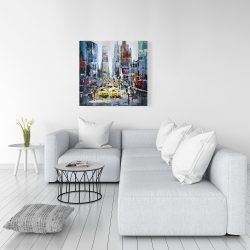 Canvas 36 x 36 - Urban scene with yellow taxis