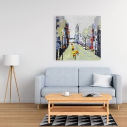 Canvas 36 x 36 - Gray street with yellow and red accents