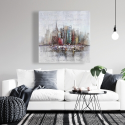 Canvas 36 x 36 - Cityscape with typography in relief