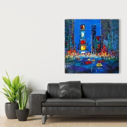 Canvas 36 x 36 - Colorful and abstract times square by night