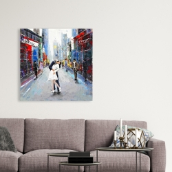 Canvas 36 x 36 - Couple kissing on the street