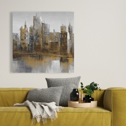 Canvas 36 x 36 - Gray and yellow cityscape