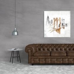 Canvas 36 x 36 - Brooklyn bridge blurry sketch