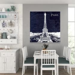 Canvas 36 x 36 - Paris blue print and eiffel tower