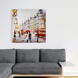 Canvas 36 x 36 - European street by a rainy day