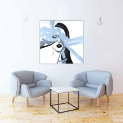 Canvas 36 x 36 - Abstract blue woman portrait