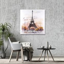 Canvas 36 x 36 - Eiffel tower sketch with an handwritten message