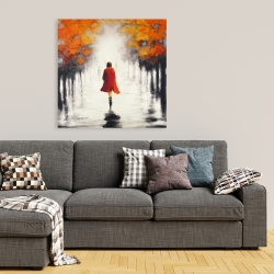 Canvas 36 x 36 - Woman with a red coat by fall