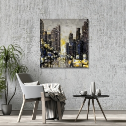 Canvas 36 x 36 - Abstract and texturized city with yellow taxis