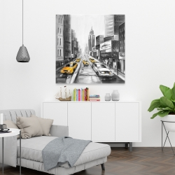 Canvas 36 x 36 - Grayscale street with yellow cars
