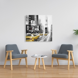 Canvas 36 x 36 - Traffic of yellow cars in a gray city