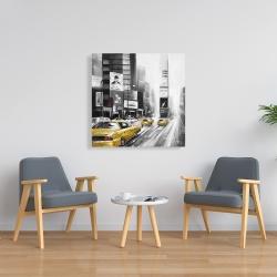 Toile 36 x 36 - Ville grise et trafic de voitures jaunes