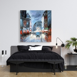 Canvas 36 x 36 - Abstract red and blue city