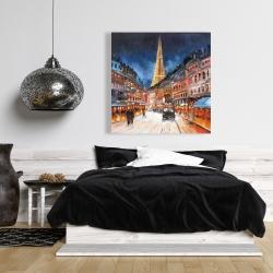Toile 36 x 36 - Paris en rouge et bleu