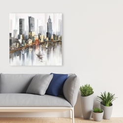 Canvas 36 x 36 - Watercolor style city with boats
