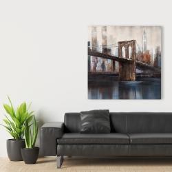 Canvas 36 x 36 - Brown and blue brooklyn bridge