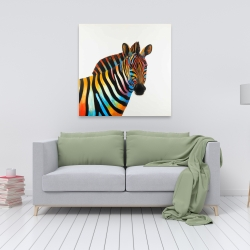 Canvas 36 x 36 - Colorful profile view of a zebra