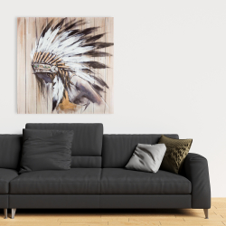 Canvas 36 x 36 - Indian with feathers