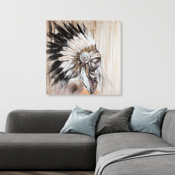 Canvas 36 x 36 - Indian with an headdress chief