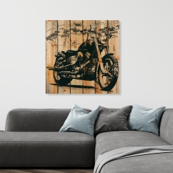 Canvas 36 x 36 - Motorcycle on wood background