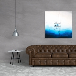 Canvas 36 x 36 - White boat on a deep blue water