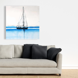 Canvas 36 x 36 - Sailboat on a calm water