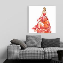 Canvas 36 x 36 - Beautiful red prom dress