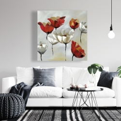 Canvas 36 x 36 - Abstract red and white flowers