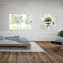 Canvas 36 x 36 - Modern beige flower