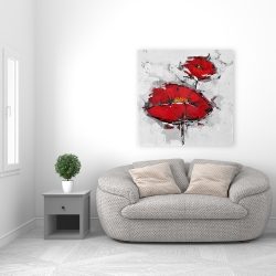 Canvas 36 x 36 - Texturized red poppies