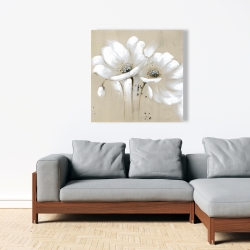Canvas 36 x 36 - White abstract wild flowers