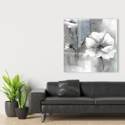 Canvas 36 x 36 - Monochrome and silver flowers