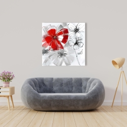 Canvas 36 x 36 - Red & gray flowers