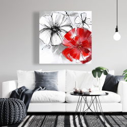 Canvas 36 x 36 - Red & white flowers sketch