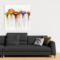 Canvas 36 x 36 - Multiple colorful abstract flowers