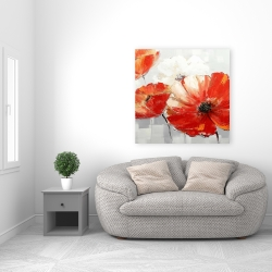 Canvas 36 x 36 - Abstract red wild flowers