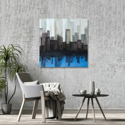 Canvas 36 x 36 - View of a blue city
