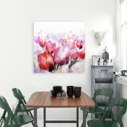 Canvas 36 x 36 - Abstract blurry tulips