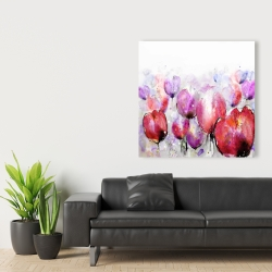 Canvas 36 x 36 - Pink tulips field