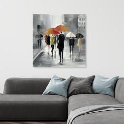 Canvas 36 x 36 - Street scene with umbrellas