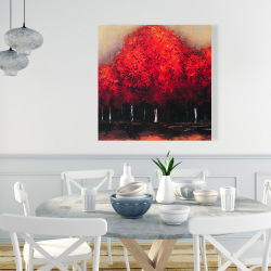 Canvas 36 x 36 - Red trees by a dark day