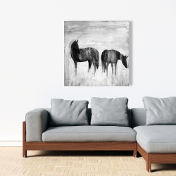 Canvas 36 x 36 - Horses silhouettes in the mist