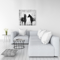 Canvas 36 x 36 - Black and white horses
