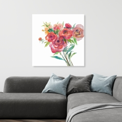 Canvas 36 x 36 - Watercolor bouquet of flowers