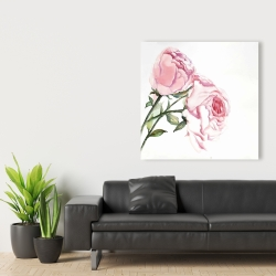 Canvas 36 x 36 - Watercolor pink roses