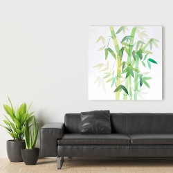 Canvas 36 x 36 - Watercolor bamboo with leaves