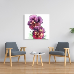 Canvas 36 x 36 - Two blossoming orchid with wavy petals