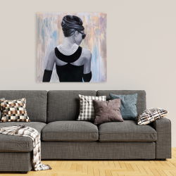 Canvas 36 x 36 - Audrey hepburn abstract style back view