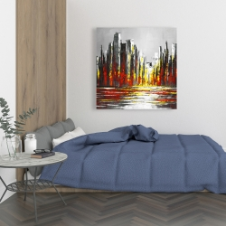 Canvas 36 x 36 - Abstract red skyline