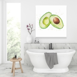 Canvas 36 x 36 - Watercolor open avocado